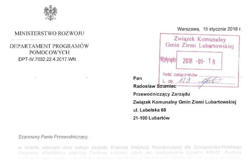 List gratulacyjny Ministerstwa Rozwoju